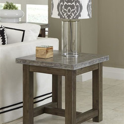 HomeStyles - Concrete Chic End Table - Add an urban edge to any eclectic decor with the Concrete Chic End Table by Home Styles. This unique piece is constructed molded concrete over a light weight core with a solid wood base. The top is lightly finished aged metal look and the base has a weathered brown finish. This table's honed beauty and natural intonations create a remarkable accent piece for any room's style. As an additional feature, this collection is suited for outdoor use as well. 22 in. W x 22 in. D x 22 in. H
