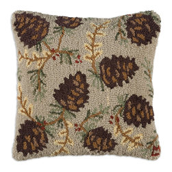 Chandler 4 Corners - North Woods Cone Hooked Pillow - Rustic reverie, rich textures and outdoor-inspired details define our Cabin Fever Pillow Collection.