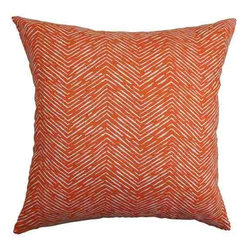 The Pillow Collection - Edythe Orange 18 x 18 Zigzag Throw Pillow - - Pillows have hidden zippers for easy removal and cleaning  - Reversible pillow with same fabric on both sides  - Comes standard with a 5/95 feather blend pillow insert  - All four sides have a clean knife-edge finish  - Pillow insert is 19 x 19 to ensure a tight and generous fit  - Cover and insert made in the USA  - Spot clean and Dry cleaning recommended  - Fill Material: 5/95 down feather blend The Pillow Collection - P18-PP-CAMERON-TANGELO-C100