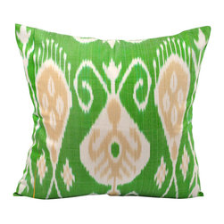 Hand Woven Ikat Pillow Cover A406 - This hand woven Ikat pillow cover in green, white, and tan will add powerful punch of color to your interior.