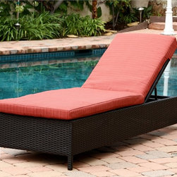 Abbyson Living - Abbyson Living Ventura Outdoor Black Wicker Chaise Lounge with Cushion - This Ventura chaise lounge from Abbyson Living comes with water-resistant cushions that are safe for outdoor use. The wicker base is sturdy and lightweight,making it easy to re-position at whim.