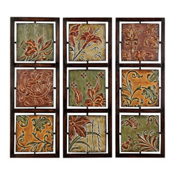 ecWorld - Verona Flowers & Vines Metal Wall Art Decor (Set of 3 Assorted Plaques) - Revolutionize your decorating with this generously sized series full of artistry and painterly detail. Three panels of sculptural metal are defined by gorgeous colors, abstract shapes, and three-dimensional features. Make your walls come alive with this unique display of art - you'll love it!