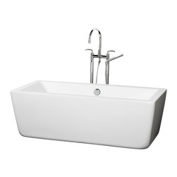 Wyndham Collection - 59 in. Soaking Bathtub in White - Includes cable driven pop up drain and waste overflow are installed. Tub filler not included. Much deeper than standard tubs for full immersion. Warmer to the touch and more comfortable than traditional enamel or steel tubs. Acrylic construction for strength and ease of handling and installation. Adjustable base for accurate leveling and stability. Maximum fill: 43.5 Gallons. Drain: 17 in. D. Interior: 52.2 in. W x 21 in. D x 16.25 in. H. Exterior: 58.75 in. W x 27.38 in. D x 21.25 in. H. Assembly InstructionsThe Laura Soaking Tub - chic, elemental, bold and minimalist. Your bathroom is a sanctuary so set it off by making a statement with your style fill your tub with warm water place a votive or two on the edge, lay back and relax. Now breath in deeply, close your eyes and just enjoy. Built to last and always warm to the touch, the Verona Bathtubs are a perfect place to melt away tension and stress, leaving you refreshed, recharged and renewed.