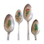 Greens old silverplate - A one-of-a-kind way to mark your greens. A set of four hand-illustrated greens--spinach, kale, lettuce, arugula--displayed on old silverplate spoons. Each drawing is done by me in archival ink and colored by hand. These are mini works of art.