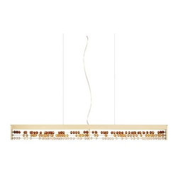 LBL Lighting - LBL Lighting Roka Dark Amber LED Suspension Light - LBL Lighting Roka Dark Amber LED Suspension LightResembling a large abacus, this exclusive design utilizes brilliant colored crystal beads that refract light shining down from a 12 watt 2700K color temperature LED module. This fixture features a gold finish with Dark Amber, Light Amber, and Clear crystals.LBL Lighting Roka Dark Amber LED Features: