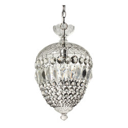 """Antique Neoclassical Lighting - A striking vintage crystal chandelier featuring its original prisms and found in a home in St. Louis, MO. Dating from the 1940's, the light fixture begins with a simple nickel canopy coming down in a chain to a scalloped glass bowl. Below, the acorn-shaped chandelier is topped with a hand-cut glass dome and finishes in a complimentary cap; several strands of the fixture's original prisms connect the two and form the open chandelier body. The chandelier is in excellent condition and has been professionally rewired and comes with all the necessary attachments for modern installation. The chandelier measures 10-1/4"""" wide, 18-1/2"""" tall and 30"""" overall."""