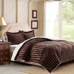 """Premier Comfort - Premier Comfort Lamont Dobby Stripe Mink Reverse To Berber Comforter Mini Set - The embossed stripes on the Lamont comforter set adds the perfect element of style and sophistication to your bedroom. Made with a mink face this comforter is soft to the touch and reverses to a natural berber to keep you warm and cozy. The set includes 2 shams. Comforter: 200gsm embossed dobby mink face, 220gsm natural berber reverse, knife edge, diamond quilting Filling: 25oz-6D fiber Sham: 200gsm embossed dobby mink face, 220gsm natural berber reverse, knife edge, 2"""" flange, zipper closure"""