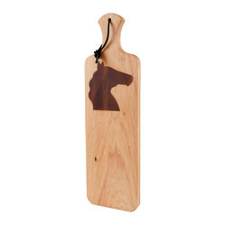 Kentucky Cutting Boards - Artisan Bread Board with Horse Head Silhouette - If bread and horses are two of your favorite things, this is the 'Made in the USA' artisan cutting board for you! There's nothing like slicing up freshly baked or warmed loaves on a traditional wood cutting board. It hangs nicely from a leather cord and makes an attractive bread serving tray too.