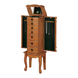 Adarn Inc - Classic Oak Jewelry Armoire Chest Green Felted Drawers Side Doors Organizer - This beautiful jewelry armoire complements your jewelry collection with its timeless appeal. Green felted drawers and a flip top mirror provide plenty of space for storing rings, earrings, bracelets and the like neatly in place. Two side doors swing out to reveal two tiers of hooks for hanging necklaces, lockets and chains in an organized manner. A carved apron and curvaceous legs are offset with a decorative motif that graces all four corners of the chest's front. Dark knobs contrast with the medium oak finish for a delightful presentation that pairs beautifully with casual or traditional bedroom decor.