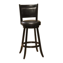 Hillsdale - Hillsdale Dennery Swivel Counter Stool - Hillsdale - Bar Stools - 4472827 - Hillsdale Furniture's stately Dennery stool has a stout base with flared legs. The back like the seat is covered in easy to care for vinyl. This handsome stool is available in either a black finish with black vinyl or a cherry finish with brown vinyl. Exuding a warm rich ambiance and constructed of sturdy hardwood these stools are a grand addition to any kitchen or home bar area.