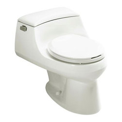 KOHLER - KOHLER K-3467-7 San Raphael One-Piece Round-Front Toilet - KOHLER K-3467-7 San Raphael One-Piece Round-Front Toilet with Concealed Trapway, French Curve Toilet Seat and Trip Lever in Black