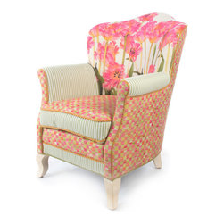 Tulip Parlor Chair | MacKenzie-Childs - Like sitting in an impressionist painting; a truly exquisite experience. Dreamy watercolor florals in verdant and blush tones, ticking stripes, checked accents and piping, and vines and bright blossoms that pop. Even if you reside in the harshest of concrete jungles, Tulip Furniture provides a respite as welcome and inviting as the secret garden you've long imagined. Equally sublime as a separate seat or grouped together.