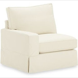 "PB Comfort Square Arm SectionalArmless LoveseatChenilleAlabasterSlipcover - Designed exclusively for our versatile PB Comfort Square Sectional Components, these soft, inviting slipcovers retain their smooth fit and remove easily for cleaning. Left Armchair with Box Cushions is shown. Select ""Living Room"" in our {{link path='http://potterybarn.icovia.com/icovia.aspx' class='popup' width='900' height='700'}}Room Planner{{/link}} to select a configuration that's ideal for your space. This item can also be customized with your choice of over {{link path='pages/popups/fab_leather_popup.html' class='popup' width='720' height='800'}}80 custom fabrics and colors{{/link}}. For details and pricing on custom fabrics, please call us at 1.800.840.3658 or click Live Help. Fabrics are hand selected for softness, quality and durability. All slipcover fabrics are hand selected for softness, quality and durability. {{link path='pages/popups/sectionalsheet.html' class='popup' width='720' height='800'}}Left-arm or right-arm{{/link}} is determined by the location of the arm as you face the piece. This is a special-order item and ships directly from the manufacturer. To see fabrics available for Quick Ship and to view our order and return policy, click on the Shipping Info tab above. Watch a video about our exclusive {{link path='/stylehouse/videos/videos/pbq_v36_rel.html?cm_sp=Video_PIP-_-PBQUALITY-_-SUTTER_STREET' class='popup' width='950' height='300'}}North Carolina Furniture Workshop{{/link}}."