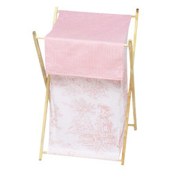 Sweet Jojo Designs - Pink Toile Clothes Hamper - The Pink French Toile Laundry Hamper will help complete the look of your Sweet Jojo Designs room. This adorable laundry clothes hamper includes a wooden frame, mesh liner and fabric cover. The removable hamper body is secured to the wooden frame with corner loops and Velcro. The wooden stand folds flat for space-saving storage and the removable mesh liner is great for toting laundry.