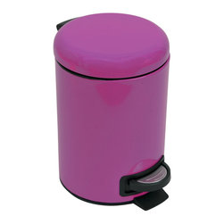 Metal Step Trash Can 3-Liter/0.8-Gal- Solid Clear Purple - This step trash can is metal and features a lovely solid clear purple color for both the can and the lid. This round shaped trash can brings a playful and contemporary touch to your bathroom and fits easily in rooms with limited Space. It offers a removable inner bucket for easy bag change and a non-skid rubber pad base. The durable pedal is designed to last through heavy use. This trash can adds a modern accent to any bathroom or under a desk with its capacity of 3-Liter/0.8-Gal. Diameter of 6.69-Inch and height of 9.84-Inch. Wipe clean. Color solid clear purple. Complete your decoration with other products of the same collection. Imported.