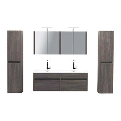 "JWH Imports - 59.5"" Kiruma Wall Mounted Double Sink Vanity Double Bundle - Go au naturel and up-to-the-minute modern in your personal space. This gray wood-grained double vanity sink and wall mounted cabinet look sleek, stylish and spa-like — ideal design components of the sumptuous yet unfussy bath."