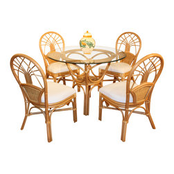 Wicker Paradise - Jupiter Rattan Dining Set - The Jupiter Rattan Dining Set gives your dining room a tropical flair and can blend with any decor. The pedestal table has polished beveled glass and rattan frame is finished in a golden natural rattan.   Jupiter Rattan Dining Set:  -Leather wrapping at the joints of the Jupiter rattan furniture makes it a long-lasting, durable set.  -You and your company will enjoy plush cushions attached to the dining chairs. Armless dining chairs have attached cushions to prevent them from moving every time you do!     -Armless dining chairs provide extra space and convenience in your dining area.
