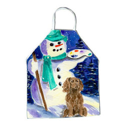 Caroline's Treasures - Artist Snowman with Boykin Spaniel Apron - Apron, Bib Style, 27 in H x 31 in W; 100 percent  Ultra Spun Poly, White, braided nylon tie straps, sewn cloth neckband. These bib style aprons are not just for cooking - they are also great for cleaning, gardening, art projects, and other activities, too!