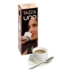 Konitz - Set of 4 White Tazza Uno Espresso Cups - The Italian word 'tazza' means 'cup'. This small white cup is perfectly sized for just one shot of espresso. Saucer is attached and designed with an easy grip for your finger.