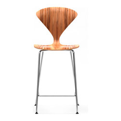 Cherner - Cherner Stool with Chrome Metal Base with Arms - The Cherner Stool with Arms and Chrome Metal Base has the classic shape we've come to love about Norman Cherner's molded plywood seating. This mid-century dining stool is available as a counter stool or barstool, with optional seat pad. Made in the USA in a number of finishes.