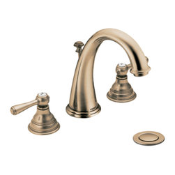 """Moen - Moen T6125AZ Antique Bronze Bath Sink Faucet Trim Two Lever Handle 8""""-16"""" Center - Moen T6125AZ is part of the Kingsley Bath collection. Moen T6125AZ is a new style bathroom lavatory, sink faucet trim. Moen T6125AZ has an Antique Bronze finish. Moen T6125AN two handle widespread lavatory faucet mounts in a 3-hole 8"""" - 16"""" Center sink, with 5 1/16"""" long and 7"""" high arc spout. Moen T6125AZ has Hydrolock quick connect system and includes a metal pop-up type waste assembly. Moen T6125AZ two handle widespread trim, fits the MPact common valve system and requires Moen's 9000, or 69000 valve to make this faucet complete. Moen T6125AZ is part of the Kingsley bath collection with its traditional style combining classic antique look, with modern luxury. This collection delivers the best of both worlds. Moen T6125AZ two lever handle provides ease of operation. Antique Bronze is an exclusive finish from Moen and provides style and durability. Moen T6125AZ metal lever handle meets all requirements ofADA ICC/ANSI A117.1 and ASME A112.18.1/CSA B125.1, NSF 61/9 and proposition 6"""". Water Sense Certified. Lifetime limited Warranty."""