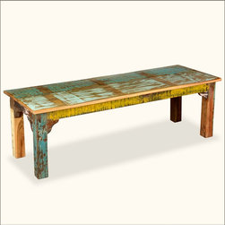 Rustic Painted Reclaimed Wood Country Bench - A rustic wooden bench has a hundred different uses, no wonder it's been a favorite piece of furniture in homes around the world for centuries. Our eco-friendly Bench is built with top quality old wood that has a look and feel you just can't find in new wood. The simple straight square leg design works with rustic, modern, and Green interiors.