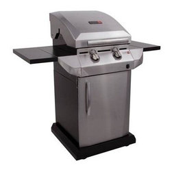 Char-Broil - CB TRU Infrared 340 2 Burnr DF - Char-Broil Performance T-22D TRU-Infrared cooking system delivers juicy results every time; Two stainless steel burners yield 20 000 BTUs; 340 square inches of primary cooking on stainless steel grates plus 125 square inches of secondary cooking on porcelain-coated warming rack; Painted metal side shelves fold down for easy storage of the grill; Stainless steel lid  handle  control panel  fascias  and door add style to this model; SureFire Electronic ignition for a reliable spark at every burner; Two grate-level temperature gauges help you control the heat; Four casters (2 locking) offer easy mobility in any direction; Dual Fuel easily converts from liquid propane to natural gas; Stainless Steel/Black finish.  This item cannot be shipped to APO/FPO addresses. Please accept our apologies.