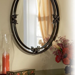 "Quoizel - Quoizel DH44030PN Duchess Traditional Large Oval Mirror - Indulge in classic European elegance for your home with this refined design fit for royalty. The hand-forged iron is twisted into graceful ""S"" curves, while the trumpeted shades celebrate the beauty of light with their warm gradation of color."
