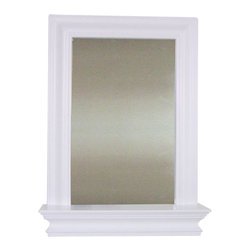 Elegant Home Fashions - Stratford Wall Mirror with Shelf - Stratford Framed Wall Mirror from Elegant Home Fashions in a white finish helps expand the storage space in your bathroom with its attached shelf. The crown molding frame creates a sophisticated yet casual look in any bathroom decor.