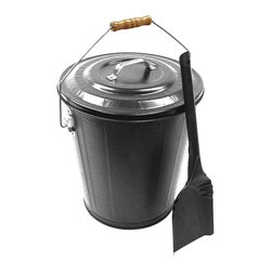Landmann - Ash Can with Shovel - Sturdy steel ash can holds about 6 gallons of ashes . Great for shuttling ashes or for storing wood, kindling or pellets. Wood handle for carrying with comfort and ease