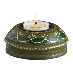 Everybody's Ayurveda - Wooden Hand Painted T-lite Holder in Adoosa Wood - Green - Green Wooden Embossed Painted Tealight Holder. Adoosa Wood. Package Includes: T-lite Holder Only. Dimensions: Width: 3.5 inch. Height: 1.25 inch.