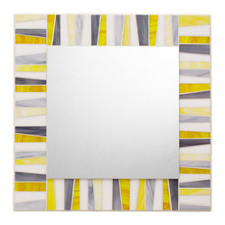 "Mosaic Mirror - White, Yellow, Gray (Handmade), 24"" X 24"" - MIRROR DESCRIPTION"