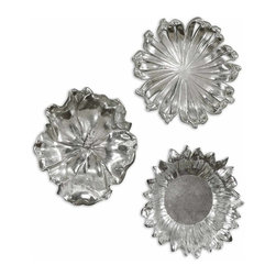 Uttermost - Uttermost Silver Flowers Wall Art (Set of 3) - Uttermost Silver Flowers is a Part of Billy Moon Designs Collection by Uttermost Delightful, silver plated flower designs accented with a light gray wash. May be used as wall decor or tabletop accessories. Metal Wall Art (3)