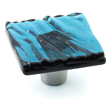 """Windborne Studios - Glazed Wave Glass Knobs and Pulls, Steel Blue, 1.5"""" Square - The Glazed Wave Collection was inspired from the waves of Lake Michigan."""