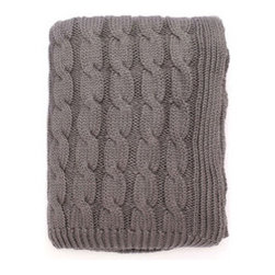 Cable Knit Throw in Gray - If you enjoy the warmth of a thick cable knit sweater, this throw will feel like a soft cable knit hug. Made from 100% cotton, it's perfect for when you're reading in bed and aren't quite ready to get under the covers yet.