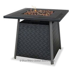 Blue Rhino - Lattice Firepit LP - Blue Rhino /Uniflame Lattice LP Gas Firepit - Stamped Steel mantel, lava rocks included.