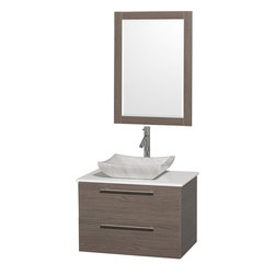 Wyndham - Amare 30in. Wall Vanity Set in Grey Oak w/ White Stone Top & Carrera Marble Si - Modern clean lines and a truly elegant design aesthetic meet affordability in the Wyndham Collection Amare Vanity. Available with green glass or pure white man-made stone counters, and featuring soft close door hinges and drawer glides, you'll never hear a noisy door again! Meticulously finished with brushed Chrome hardware, the attention to detail on this elegant contemporary vanity is unrivalled.
