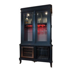 "Pre-owned 1960s Grey French Provincial Bar & Liquor Cabinet - This beautiful Mahogany bar was originally built in St. Louis in the early 1960s. The doors were replaced with glass and it was painted in dark grey, while the original hardware was maintained. The back was replaced and painted a contrasting light grey. It has wine glass storage and the bottom drawers were removed and fitted with a wine fridge - and don't forget about the internal lighting!    This cabinet is a vintage piece of furniture that's been refurbished into ""like new"" condition. It comes with a touch up kit to correct any future nicks, although it has been finished in the most durable sealant making it water and scratch resistant."