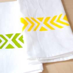 Organic Cotton Tea Towel, Chevron Print in Yellow by Katherine J. Lee - These very cute and refreshing towels remind me of limes and lemons.