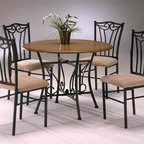 Bernards - Heritage 5 Pc Wood & Metal Dinette Set in Bla - Set includes wood top table and 4 Beige fabric seat chairs. Made of wood, metal and fabric. Table: 42 in. Dia.. 116.5 lbs.