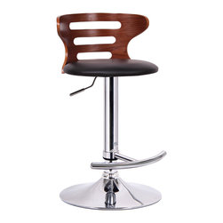 "Baxton Studio - Baxton Studio Buell Walnut and Black Modern Bar Stool - Kitchen counter, restaurant bar, basement lounge... This contemporary bar stool is an instant fix to any lackluster space!  The Buell Modern Bar Chair is made from a durable molded plywood seat finished with faux walnut veneer and a black faux leather seat.  Polyurethane foam cushioning keeps it comfy.  Functional features are not lacking: the stool includes a steel base with chrome finish, adjustable height gas piston, and 360 degree swivel.  A protective plastic ring acts as a barrier to keep the base from scratching hard flooring.  Made in China; assembly is required.  To clean, wipe with a damp cloth. product dimension:18""Wx18""Dx31.375""-39.75""H, seat dimension:15.75""Wx15.5""Dx23.5""-31.75""H"