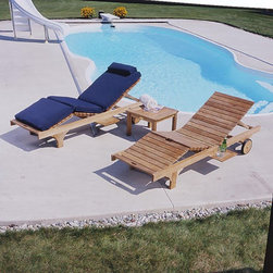 Three Birds - Three Birds Teak Chaise Lounge - Set of 2 Multicolor - TB058 - Shop for Chaise Lounges from Hayneedle.com! If one is gorgeous and durable why stop there? Complete your poolside or patio with the Three Birds Teak Chaise Lounger Set. Features include pull-out shelves on either side for holding drinks six-position reclining backrest and an adjustable center section. Constructed from 100% grade-A plantation-grown teak these loungers are designed to provide years of outdoor use. Teak wood is naturally resistant to the elements. It will age to a silvery patina gray with no decrease in quality. If you prefer simply refresh with teak oil or stain. This set will be your favorite spot summer after summer. Important NoticeThis item is custom-made to order which means production begins immediately upon receipt of each order. Because of this cancellations must be made via telephone to 1-800-351-5699 within 24 hours of order placement. Emails are not currently acceptable forms of cancellation. Thank you for your consideration in this matter. For centuries teak wood has been recognized for its quality durability and beauty. Teak is a very hard densely grained wood with a high oil content. The unique combination of these characteristics makes teak wood naturally resistant to moisture rot warping shrinking splintering insects and fungus. It is considered the ideal wood for outdoor furniture. Three Birds accepts only Grade-A plantation-grown teak timber harvested from government-managed plantations. All of the teak wood used in our products is kiln-dried prior to production. The teak then receives a smooth hand-applied polished finish. Time-tested mortise-and-tenon joinery with locking wood dowels holds each piece together. Where hardware is necessary it is of the highest quality brass or stainless steel. Prior to delivery each item is individually inspected and shipped knocked-down for efficiency. A hammer rubber mallet and screwdriver are all you need to complete the 