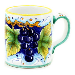 Artistica - Hand Made in Italy - DERUTA FRUTTA: Large Mug Grape Design - 16 oz. - DERUTA FRUTTA Collection: Masterfully hand painted in Deruta Italy this collection features one of the most painstakingly painted fruits and leaves pattern exclusively made for Artistica by a small artisan shop located in the renown Via Tiberina that cross through Deruta.