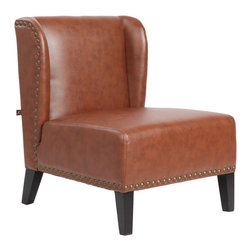 "Rissanti - Lugano Accent Chair - Saddle - The traditionally made Rissanti Lugano Wing chair in a choice of French Vanilla or saddle with contrasting solid wood legs in espresso color gives a classic look to the chair that will blend in well with almost any decor or style.Upholstered in smooth and luxurious bonded leather gives it a lovely touch of class and elegance. Sculptured with a broad back and offering a wide seating space will let you sink into this soft plump chair allowing you to relax and put your feet up after a long, tiring day. The attractive and comfy highback and firm cushioning finished with antique brass nail head trim gives the Rissanti Lugano Wing chair a very original and unique look, making it stand out from the rest of the furniture in your room.; Piedmont Collection; Bonded Leather; Espresso finished solid wood Legs; High durability; Easy care Wipes clean; Sinuous spring seat cushion support for true comfort; Nailhead Accented trim; Seat: 17""H x 26""W x 22""D; Weight: 32 lbs; Dimensions: 28 1/2""L x 26""W x 32 1/4""H"