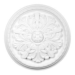 Renovators Supply - Ceiling Medallions Primed Urethane Ceiling Medallion 17'' Dia - Ceiling Medallions: Made of virtually indestructible  high-density  urethane our medallions are cast from  steel molds  making them the highest quality on the market. Steel molds provide a higher quality result for  pattern consistency, design clarity & overall strength & durability.  Lightweight they are  easily installed  with no special skills. Unlike plaster or wood urethane is resistant to  cracking, warping or peeling.   Factory-primed  these medallions are ready for finishing. Measures 17 in. dia.