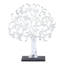 "Benzara - Aluminium Decor Tree Robust and Durable Construction - Lend your home more elegant appeal with this stylish decor tree that features a stunning tree design suited for blending in with all kinds of settings. This elegant decor tree includes a combination of sleek and curved lines and simple details that add a neat and attractive touch to the design. Place it in any corner of the room, and it will bring peace and prosperity. Designed on a simple black base, this decor is very attractive in appeal. Ideal for modern homes and offices, this metal decor will surely offer a classic charm to the overall ambience. Crafted from high quality aluminum, the decor includes a robust and durable construction that will last for years to come.; This decor tree is an excellent pick for your home or office decor; This decor tree is crafted from aluminum which ensures lasting durability and stability; The decor flaunts a striking look which enhances interior aesthetics; The decor flaunts a silver finishing that adds an aesthetic charm to its appearance; It is easy to maintain; Weight: 3.53 lbs; Dimensions:19""W x 5""D x 24""H"