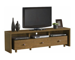 "Techni Mobili - Techni Mobili 70 Inch TV Stand w/ 3 Drawer in Light Walnut - 70 Inch TV Stand w/ 3 Drawer in Light Walnut by Techni Mobli This contemporary Techni Mobili TV cabinet, for TVs up to 70"", is designed to fit any bedroom or family room. It includes three drawers for optimal storage. The Techni Mobili TV cabinet is made of heavy duty compressed wood and laminate surface that is resistant to scratches.  TV stand with drawer also features addtional storage space for your electronics and gaming accessories.   Techni Mobili TV Cabinet: Contemporary styling 3 drawer for accessory storage, audio or gaming components Additional storage space Made of compressed wood with laminate surface Light walnut finish Fits flat screen TVs up to 60"" (maximum weight: 130 lbs) 1-year limited warranty Assembly required Dimensions: 70.75""L x 15.5""W x 20""H  TV Stand (1)"
