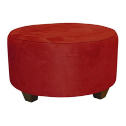 Skyline Furniture - Tufted Round Cocktail Ottoman - Micro-suede fabric. Polyurethane foam fill. 100% polyester upholstery. Made from premier solid wood. Made in USA. No assembly required. 31 in. Dia. x 18 in. H (29 lbs.)