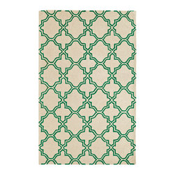 Dynamic Rugs - Dynamic Rugs Palace 8X11 5568-404 Ivory/Emerald - The Palace Collection creates a relaxed and capricious atmosphere. Modern patterns ranging from geometrics to more whimsical botanicals, these rugs deliver dramatic contrast and charm to any contemporary descor. A chic finishing touch to any modern living space, the Farahan Collection enhances today�s home with stylish charm.
