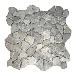 "CNK Tile - Stone Grey Mosaic Tile - Each pebble is carefully selected and hand-sorted according to color, size and shape in order to ensure the highest quality pebble tile available.  The stones are attached to a sturdy mesh backing using non-toxic, environmentally safe glue.  Because of the unique pattern in which our tile is created they fit together seamlessly when installed so you can't tell where one tile ends and the next begins!     Usage:    Shower floor, bathroom floor, general flooring, backsplashes, swimming pools, patios, fireplaces and more.  Interior & exterior. Commercial & residential.     Details:    Sheet Backing: Mesh   Sheet Dimensions: 12"" x 12""   Pebble size: Approx 3/4"" to 2 1/2""   Thickness: Approx 1/2""   Finish: Stone Gray Natural"
